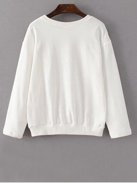 shops Floral Embroidered Crew Neck Sweatshirt - WHITE L Mobile