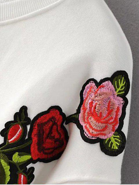 latest Floral Embroidered Crew Neck Sweatshirt - WHITE M Mobile