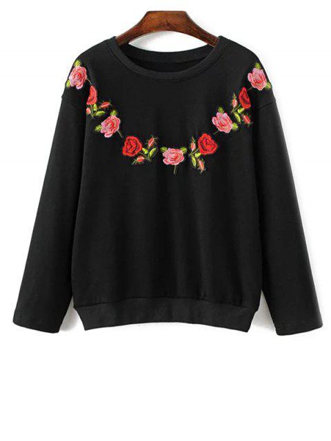 Floral bordado con cuello redondo de la camiseta - Negro L Mobile