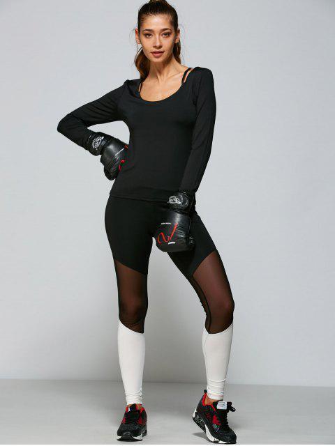 womens Mesh Panel Tight Fit Leggings - WHITE S Mobile
