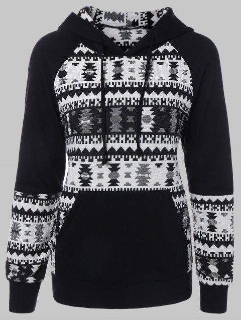 affordable Plus Size Tribal Pullover Hoodie - BLACK 2XL Mobile