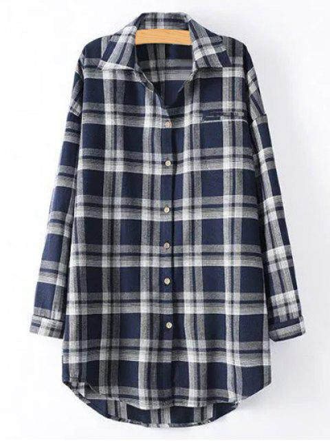 fashion Plus Size Tartan Checkered Shirt - PURPLISH BLUE XL Mobile
