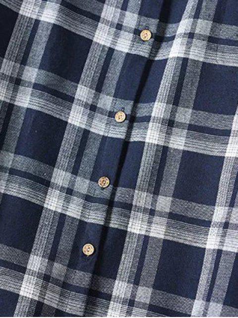 Plus Size Tartan Shirt - Bleu Violet XL Mobile