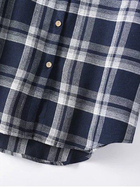 trendy Plus Size Tartan Checkered Shirt - PURPLISH BLUE 2XL Mobile