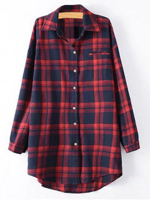 unique Plus Size Tartan Checkered Shirt - RED 2XL Mobile