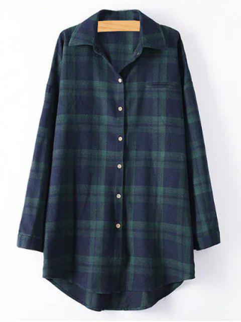 affordable Plus Size Tartan Checkered Shirt - BLACKISH GREEN 4XL Mobile