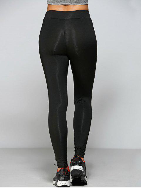 women's Tight Fit Cutout Crisscross Leggings - BLACK M Mobile