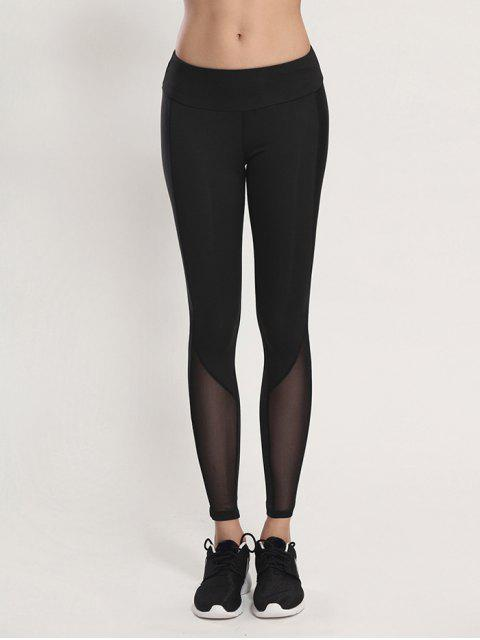shop Bodycon Yoga Voile Leggings - BLACK M Mobile