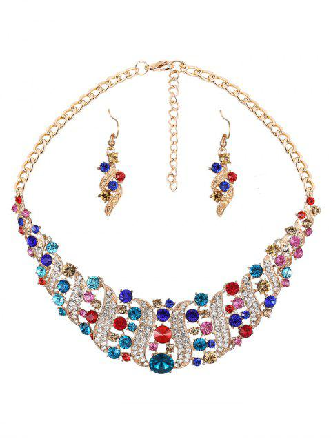 outfits Rhinestoned Hollow Out Jewelry Set - COLORMIX  Mobile
