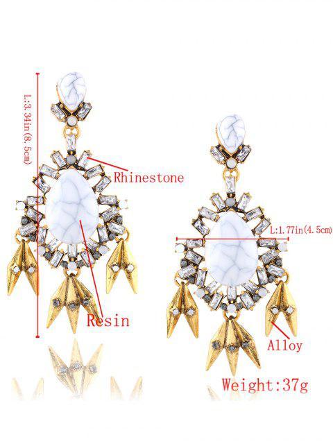 fashion Rhinestone Leaf Water Drop Layered Earrings -   Mobile