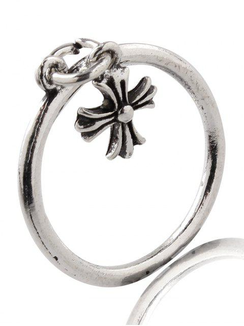 buy Vintage Alloy Beads Crucifix Cuff Rings - SILVER ONE-SIZE Mobile