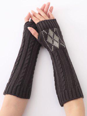 Mitaines longues chaudes torsadées tricotées à motif de diamant, d'hiver de Noël