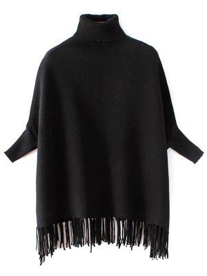 Turtleneck Fringed Dolman Sweater - Black