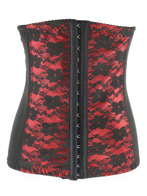 Retro Steal Boned Underbust Lace Corset - Red 2xl