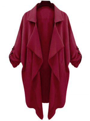 Long Sleeve Solid Color Trench Coat - Claret L