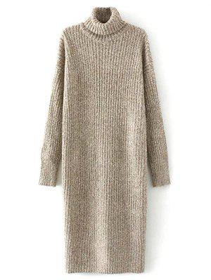 Vestido Largo Del Suéter De Cuello De Tortuga Tweed - Caqui