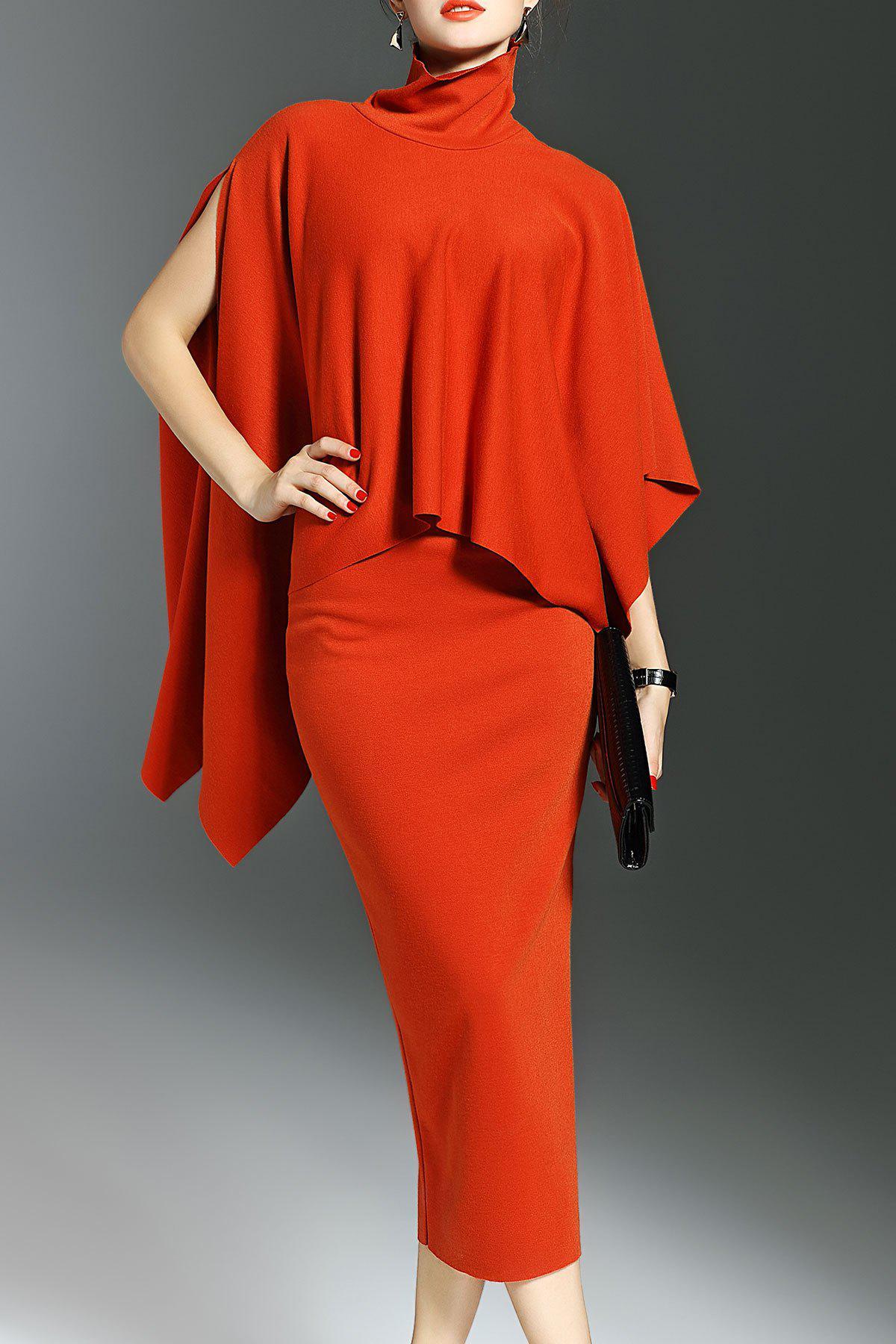 Asymmetrical Batwing Knitwear and Bodycon Skirt 198705001