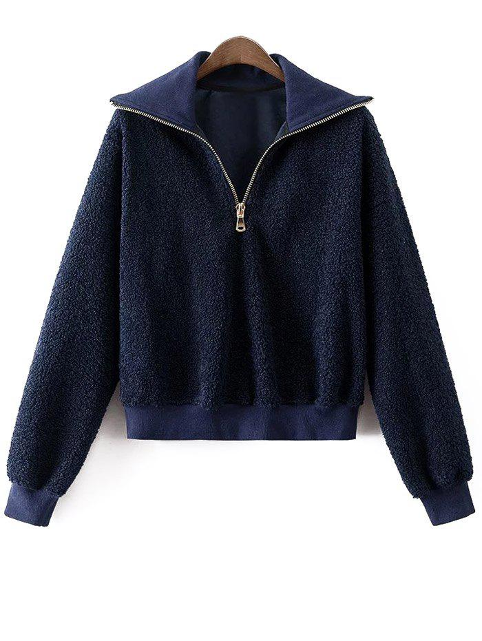Image of Funnel Collar Fluffy Zipped Sweatshirt
