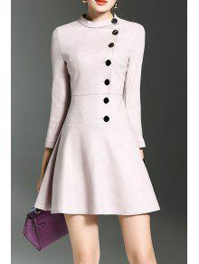 Mini Vestido Collar Levantado Volantes - Rosado Claro S