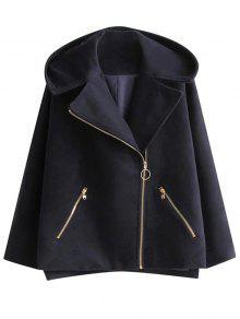 Hooded Inclined Zipper Wool Blend Coat - Purplish Blue S