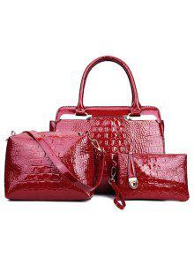 حقيبة اليد بجلد اصطناعي معدنية - نبيذ أحمر