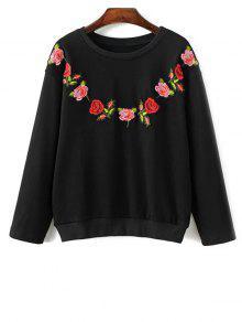 Floral Bordado Con Cuello Redondo De La Camiseta - Negro L
