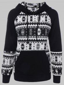 Plus Size Tribal Pullover Hoodie - Black Xl