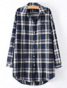 Plus Size Tartan Checkered Shirt - Purplish Blue 4xl
