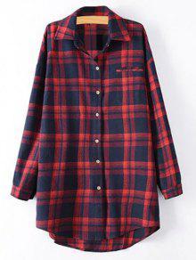 Plus Size Tartan Checkered Shirt - Red Xl