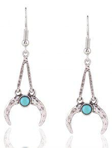 Bohemian Faux Turquoise Alloy Moon Earrings - SILVER