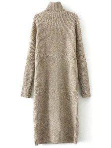 Turtle Neck Tweed Long Sweater Dress KHAKI: Sweater Dresses ONE ...