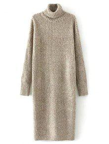 Robe Pull En Tweed Longue à Col Roulé - Kaki