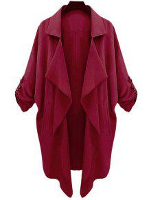Long Sleeve Solid Color Trench Coat - Claret S