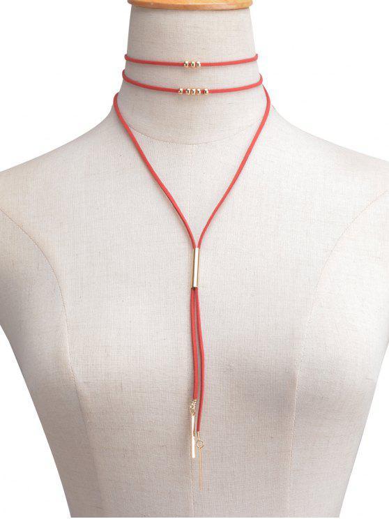 Collier ras-de-cou perlé multicouche en cuir faux - Rouge