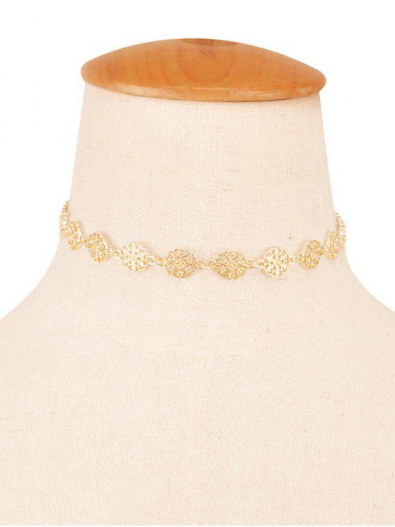 womens Filigree Floral Choker - CHAMPAGNE
