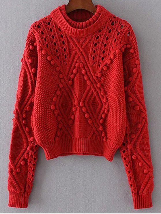 Cut Out Cable Knit Sweater RED: Sweaters ONE SIZE | ZAFUL