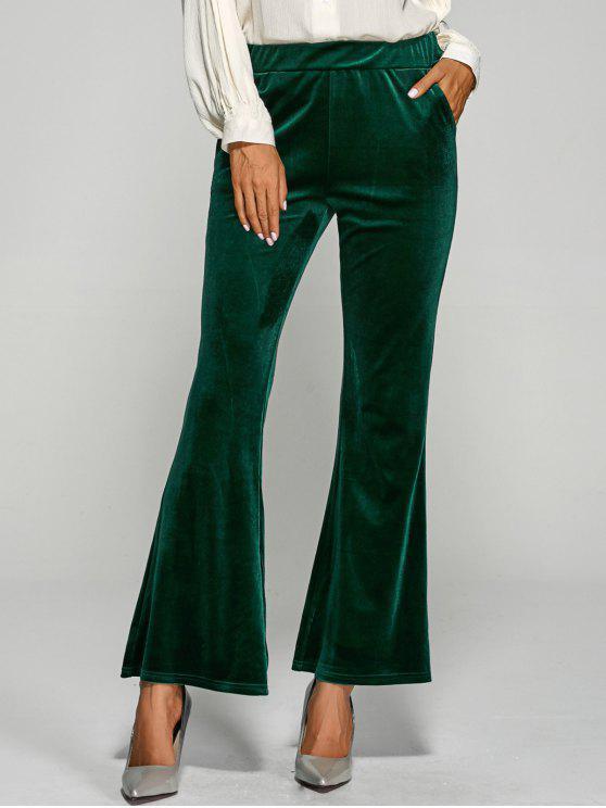 Pantalon en velours à pattes d'éléphant à taille élastique avec poches - Vert L