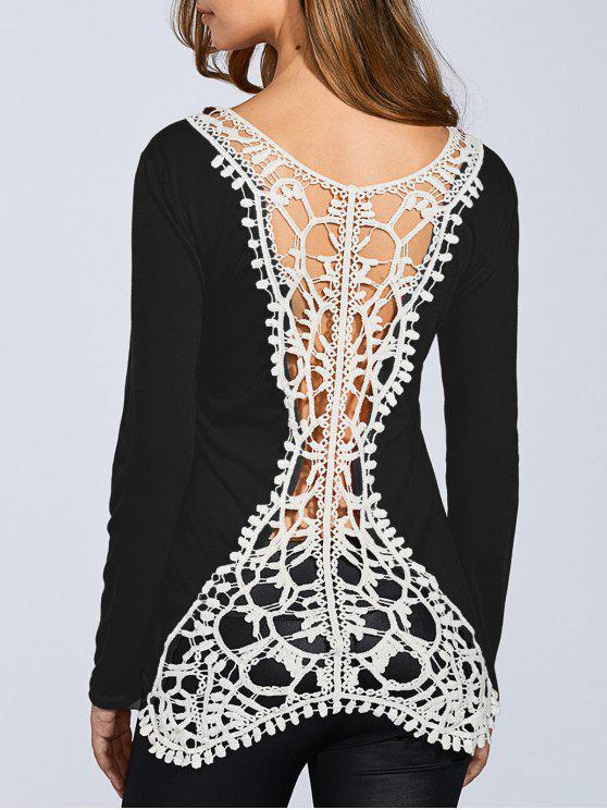 Enganche de la manga de la flor empalmado camiseta larga - Negro M