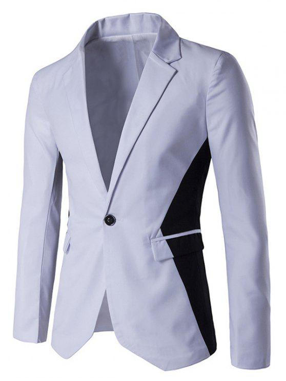 2019 Contrast Color Notch Lapel One Button Blazer In White M Zaful