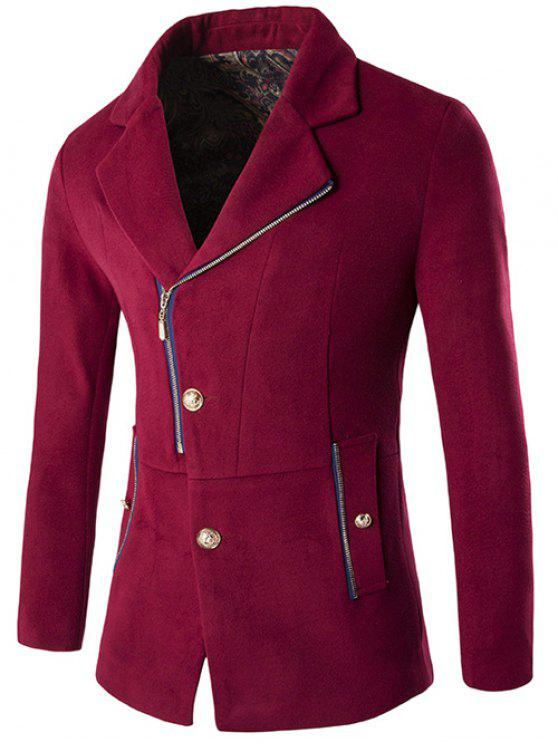latest Zip + Button Fly Lapel Collar Wool Blend Coat - WINE RED L