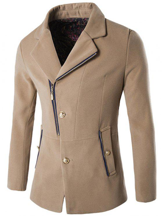 Zip + Knopfleiste Revers-Kragen Wollmischung Mantel - Khaki XL