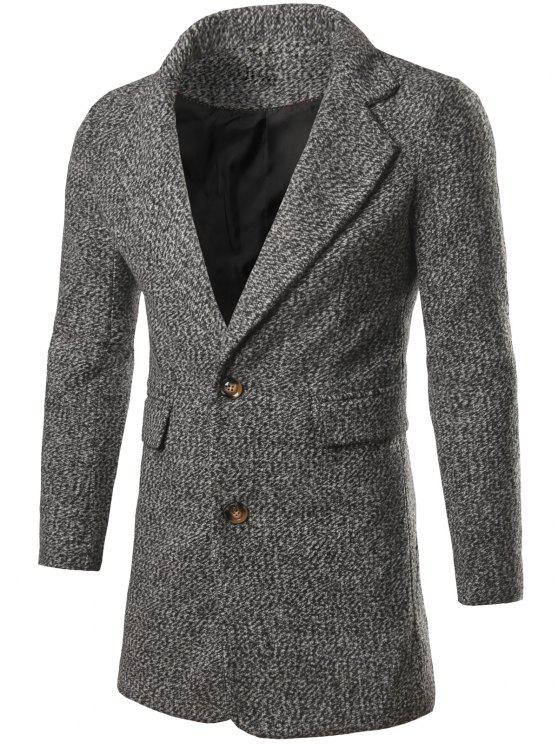 affordable Single Breasted Flap Pocket Tweed Coat - LIGHT GRAY M