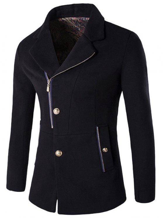+ Bouton Zip Fly col à revers en laine mélangée Manteau - Noir XL