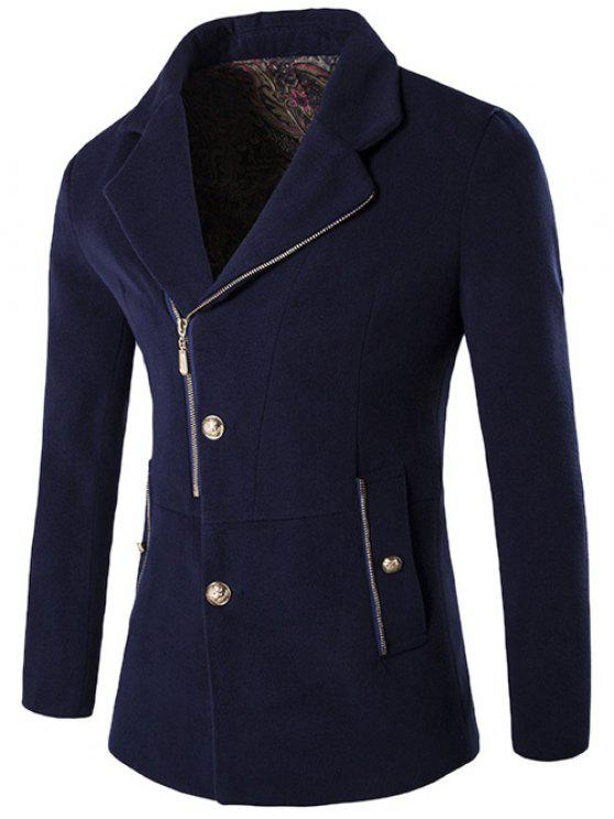 new Zip + Button Fly Lapel Collar Wool Blend Coat - PURPLISH BLUE 2XL