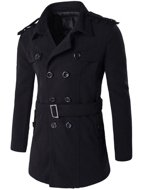 Double Breasted Epaulet Design Trench Coat - Noir 2XL