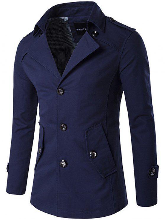 Singolo cappotto Breasted spallina design del vento - Blu Violaceo XL