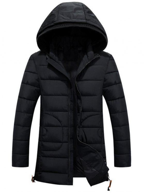 ladies Hooded Drawstring Back Slit Zip-Up Padded Coat - BLACK 2XL