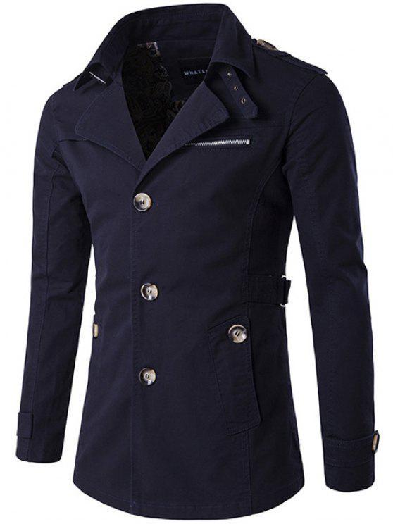 Cappotto Monopetto Pocket Zipper Spallina del Vento - Blu Violaceo 2XL