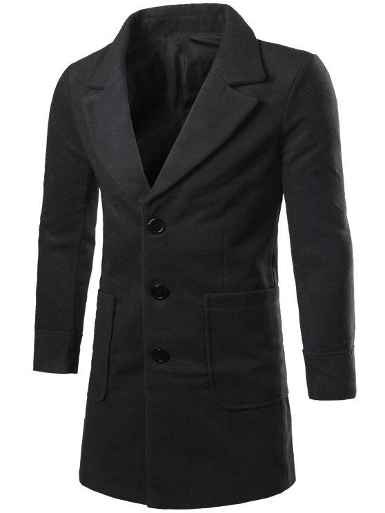 shops Lapel Collar Big Pocket Wool Blend Coat - BLACK 2XL