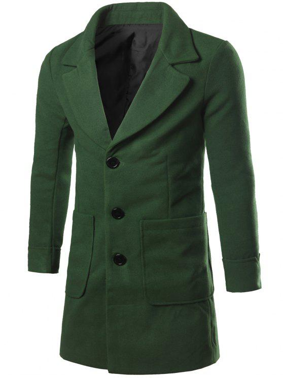 lady Lapel Collar Big Pocket Wool Blend Coat - BLACKISH GREEN 2XL
